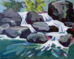 Waterfall, 30x25 cm, Acryl auf LWWat