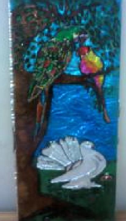 Flock of Birds Glass Painting - ISHIKAS GALLERIA
