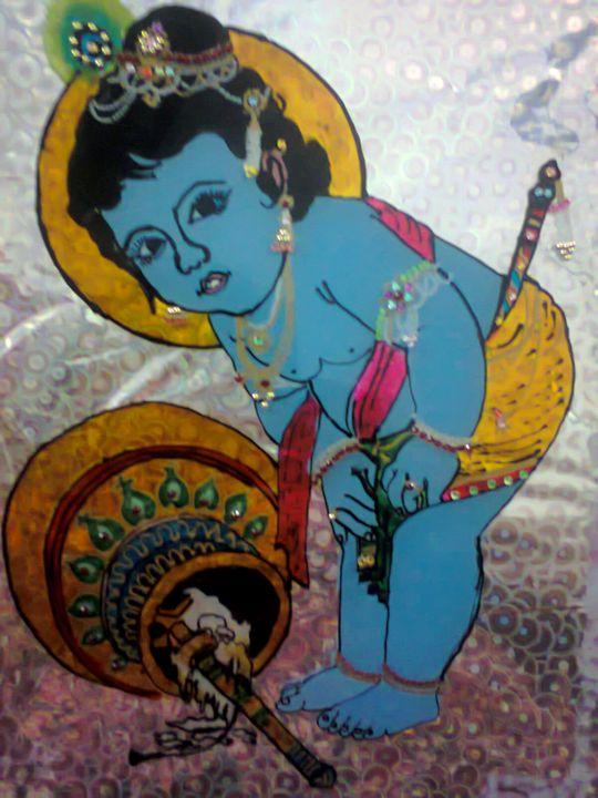 Lord Krishna Glass Painting - ISHIKAS GALLERIA