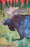 """A Bull Moose Sunrise, Watercolour"""