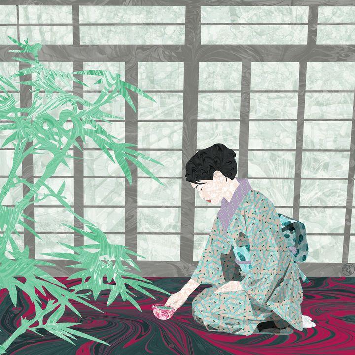 Matcha in Kintsugi by the Shoji - MarbleCloud
