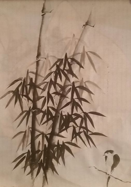 Bamboo and sparrow - Aboulabs asian art