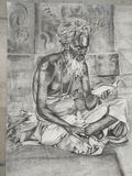 Charcoal Drawing of an Indian Monk