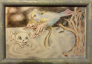 Bird and kitten magical world