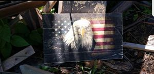 Eagle & Flag On Wood