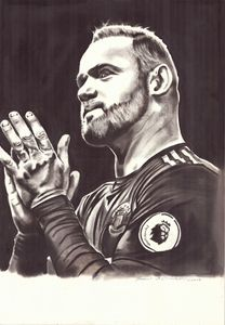 Charcoal Painting of Wayne Rooney