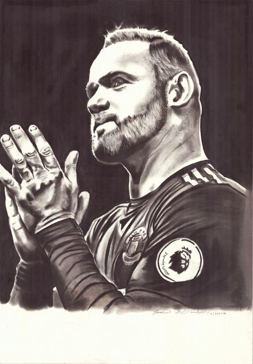 Charcoal Painting of Wayne Rooney - Black Art Adda by Prashant Chaudhari
