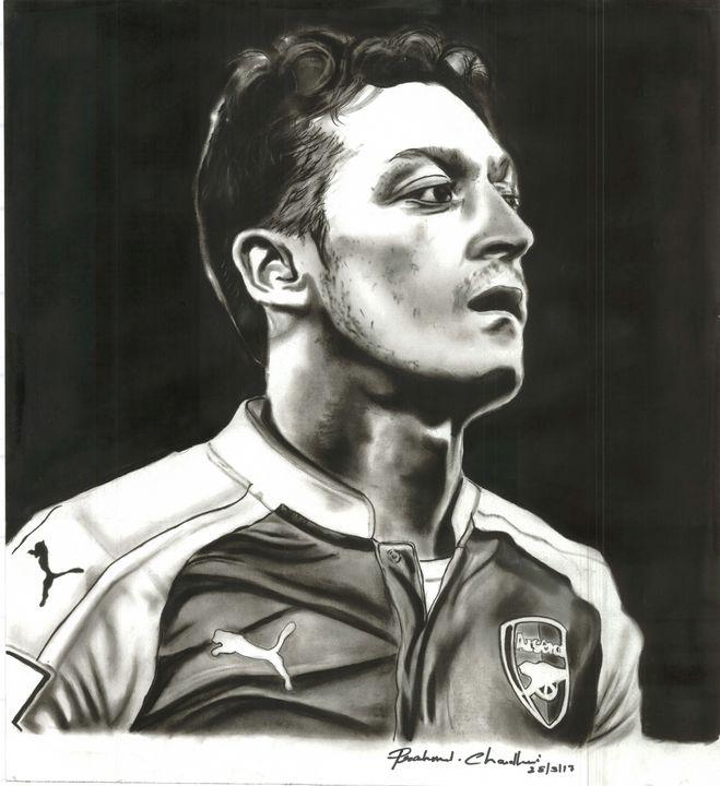 Charcoal painting of Mesut Ozil - Black Art Adda by Prashant Chaudhari
