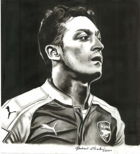 Charcoal painting of Mesut Ozil
