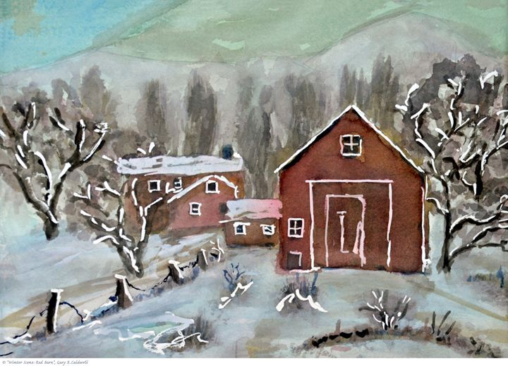 Winter Scene_Red Barn - Gary R. Caldwell | CADesign, Art & Photos
