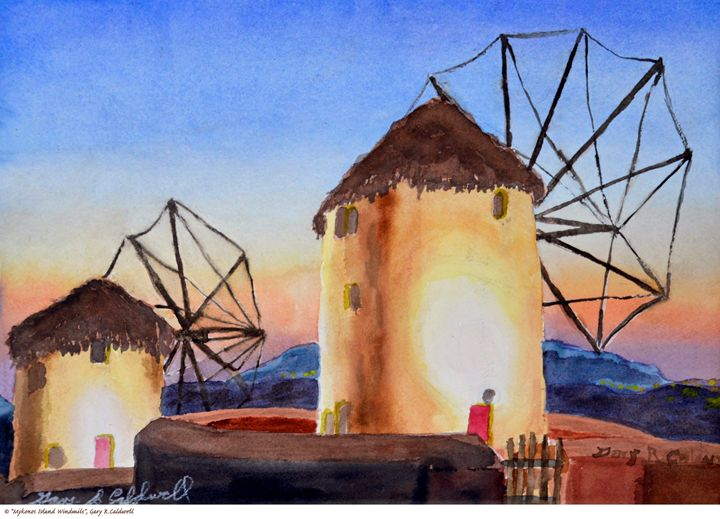 Mykons Island Windmills of Greece - Gary R. Caldwell   CADesign, Art & Photos