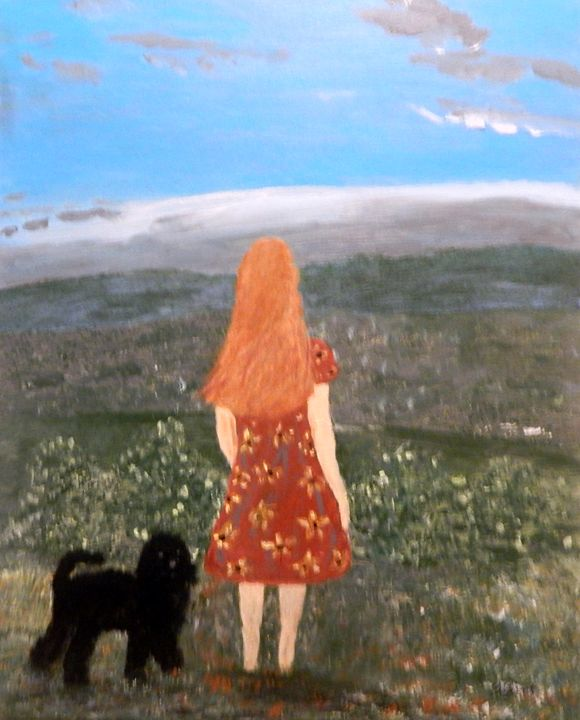 A Girl, Her Dog and Nature - B Grant Art