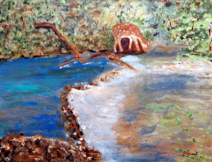 At the Stream - B Grant Art