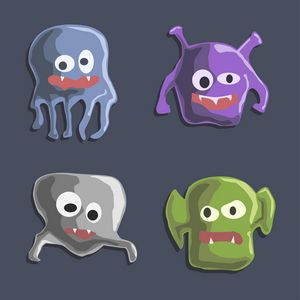 Cute monsters colorful doodles