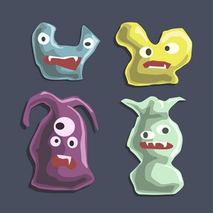 Set of cartoon monsters colorful