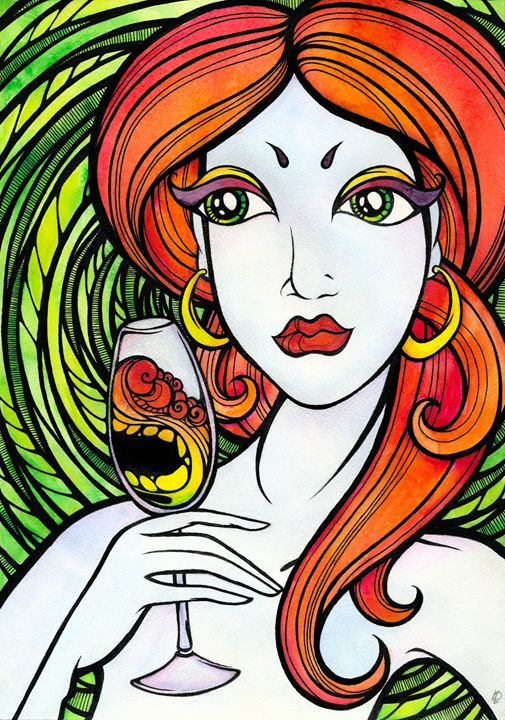 Woman with glass - Darya Lavinskaya