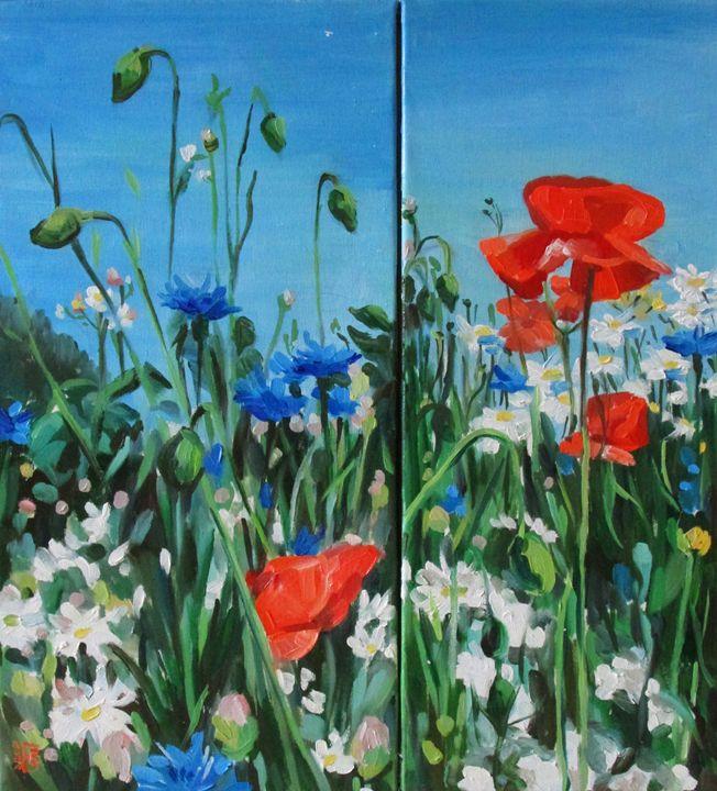 Wild flowers (modular painting) - Kateyna Bortsova