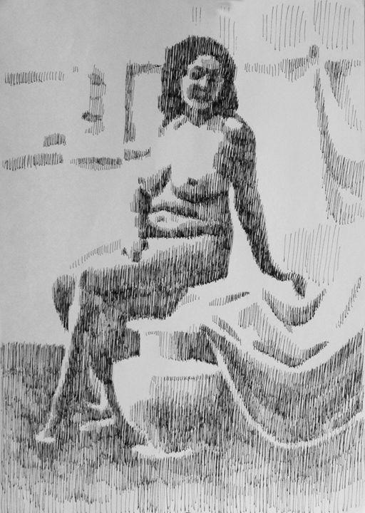 Nude model near the vase - Kateyna Bortsova