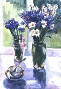 Cornflowers near the window - Kateyna Bortsova