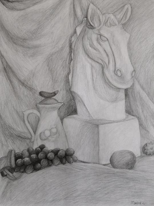 Fruits and a Statue - Marina C