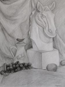 Fruits and a Statue