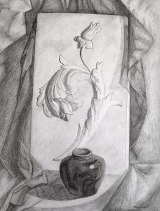 Pencil Sketch of a Flower Sculpture