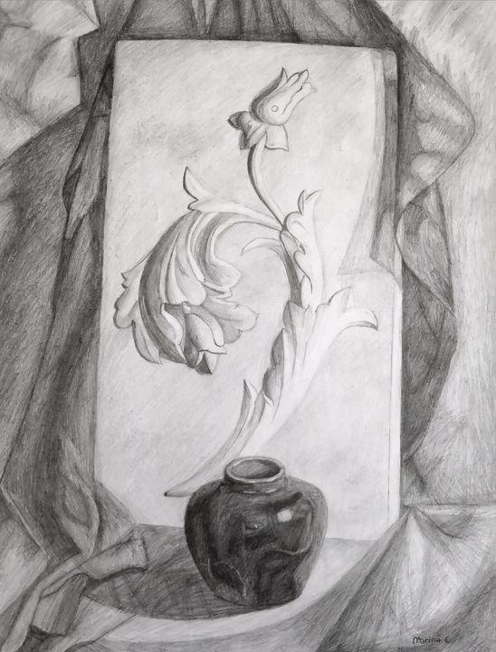 Pencil Sketch of a Flower Sculpture - Marina C