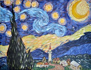 Starry Night with UFO