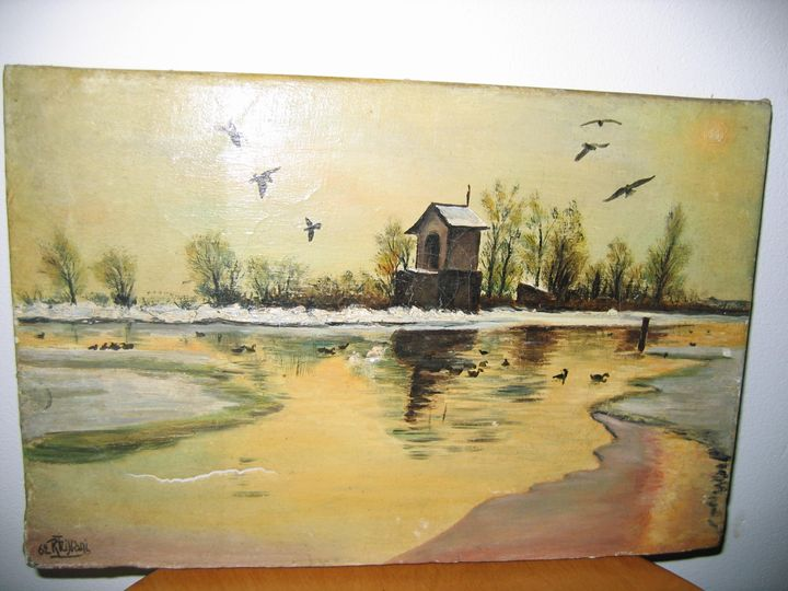 LAKE AND DUCKS - FOURGEAUD  FRENCH