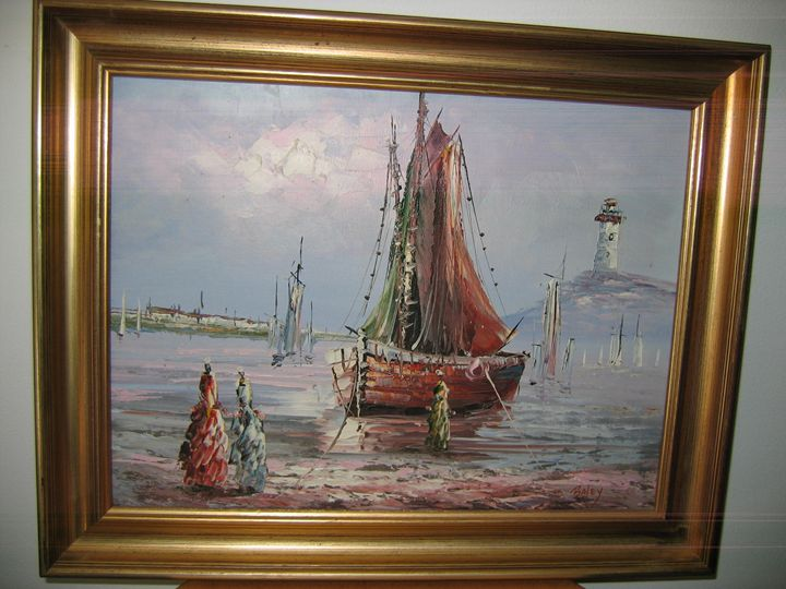 boat and tower - FOURGEAUD  FRENCH