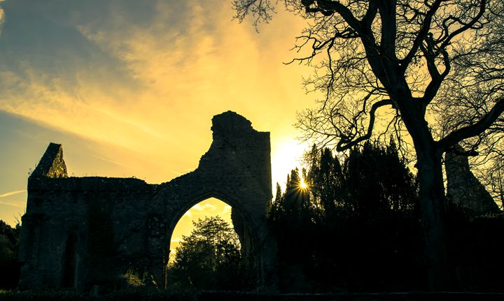 Sunset at the Abbey - Vertical Horizontal Photography