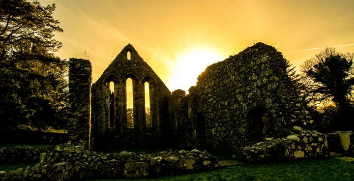 Sunset at the Ruins - Vertical Horizontal Photography