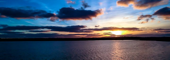 Sunset and Blue Clouds - Vertical Horizontal Photography