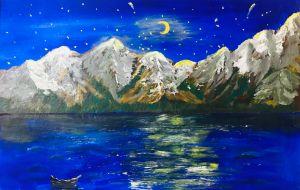 Moonlight on mountains