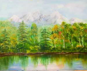 Quiet morning in mountains - Levy art