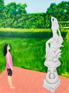 Landscape with girl and statue in th