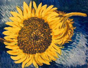 Acrylic painting sunflowers