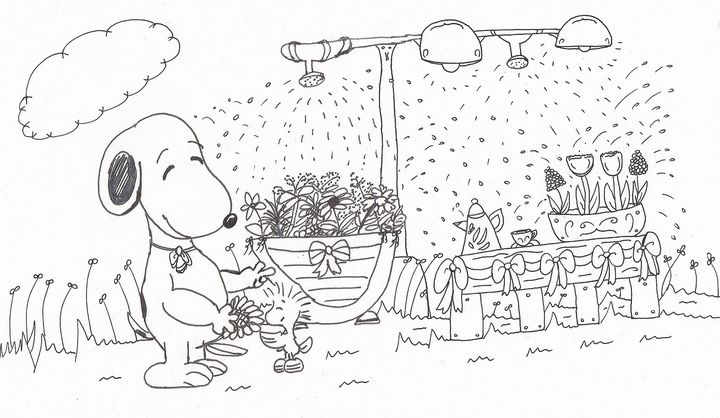 Snoopy and Woodstock with Flowers - Rowena Kong