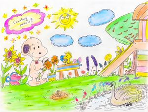 Snoopy & W Counting Petals
