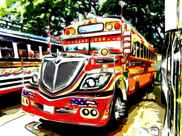 Fiery Red Bus - Dan Radin Guatemalan Digital Photography Art