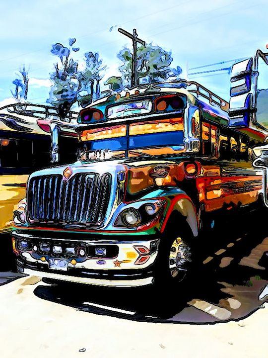Orange Bus - Dan Radin Guatemalan Digital Photography Art