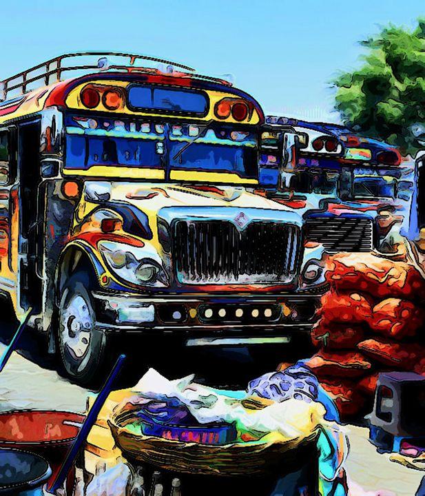 Bus at the market - Dan Radin Guatemalan Digital Photography Art