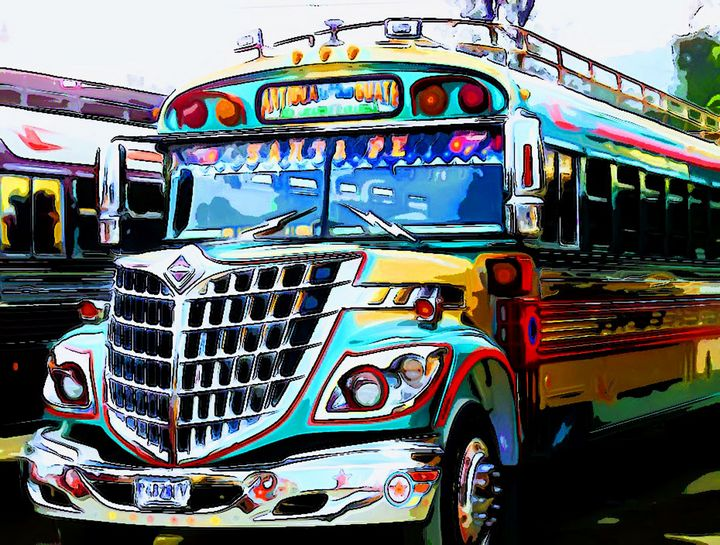 Crazy Grill Bus Left Front - Dan Radin Guatemalan Digital Photography Art