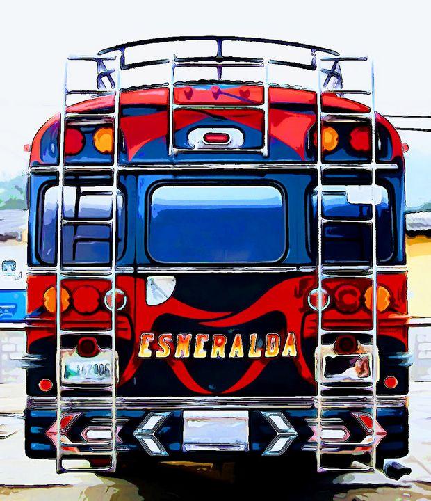 Back of Red Bus - Dan Radin Guatemalan Digital Photography Art