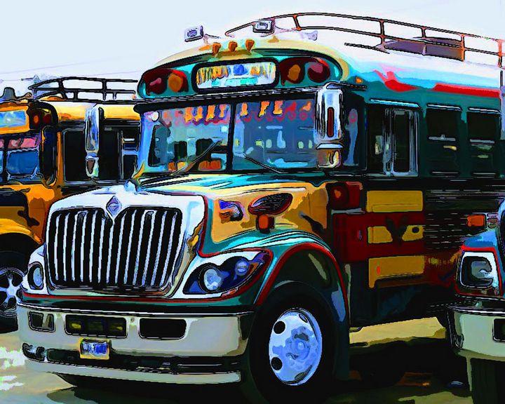 Yellow Blue Bus - Dan Radin Guatemalan Digital Photography Art