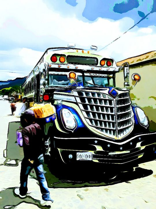 Blue Bus with Vendor - Dan Radin Guatemalan Digital Photography Art