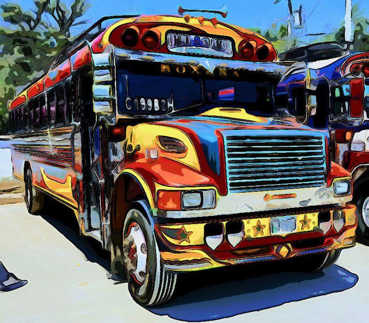 Red Yellow Blue Bus - Dan Radin Guatemalan Digital Photography Art