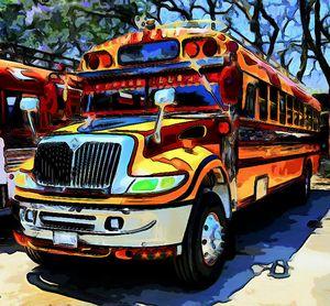 Orange, yellow, and green bus
