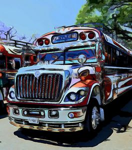 Red, white, and blue bus