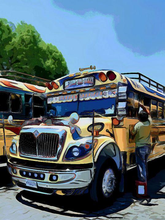 Driver Washing Yellow Bus - Dan Radin Guatemalan Digital Photography Art